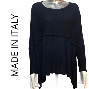 Plus Size Made in Italy Swing Top Navy